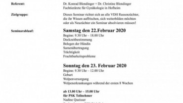 Teilnahme Neuzüchterseminar 22./23.02.2020